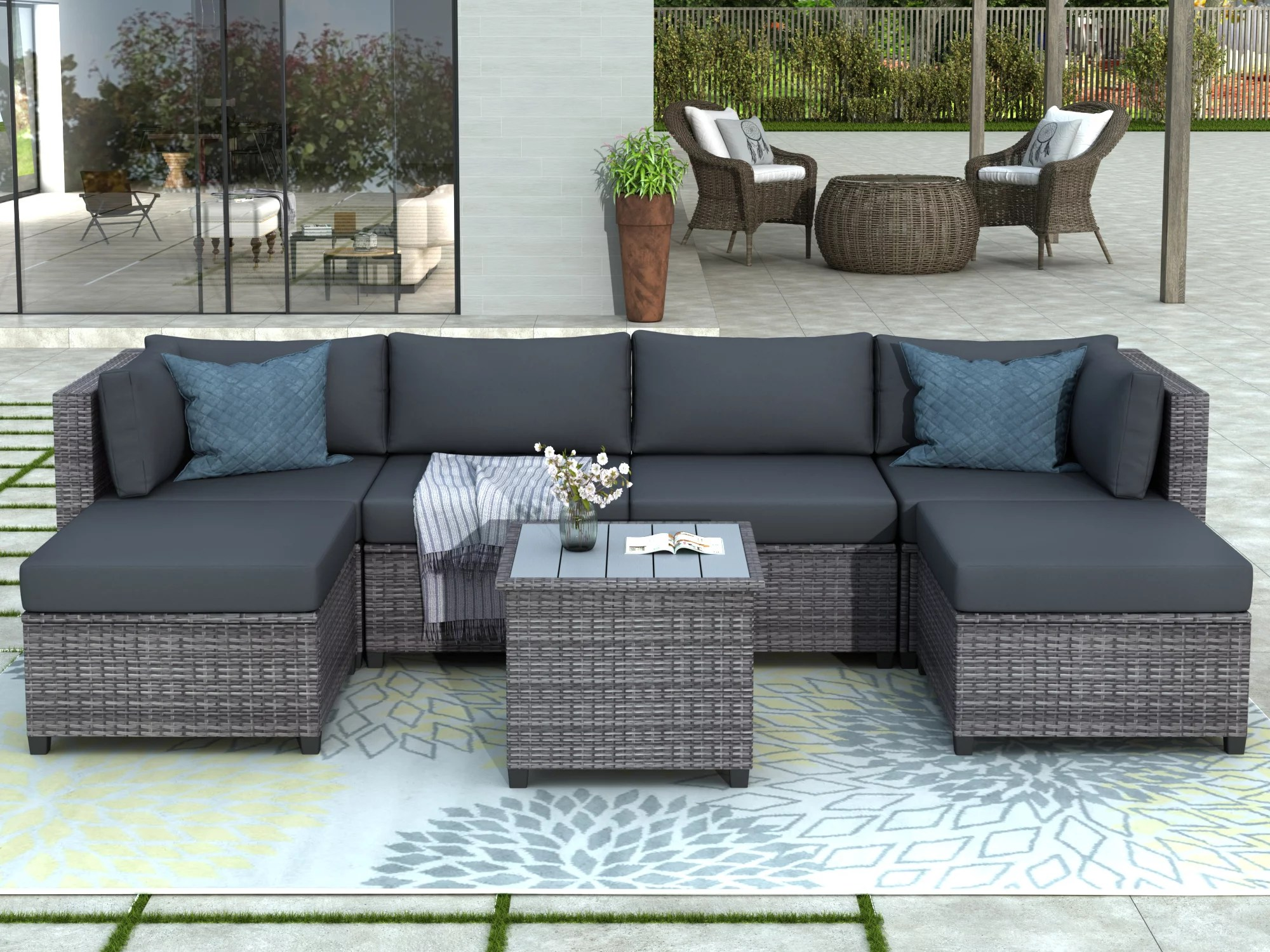 patio conversation set 7 piece outdoor wicker furniture set with 4 rattan wicker chairs 2 ottoman coffee table all weather patio sectional sofa