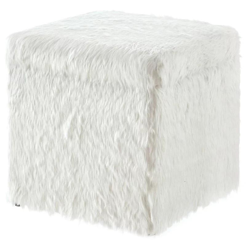 posh living stanley modern faux fur fabric cube storage ottoman in white walmart com