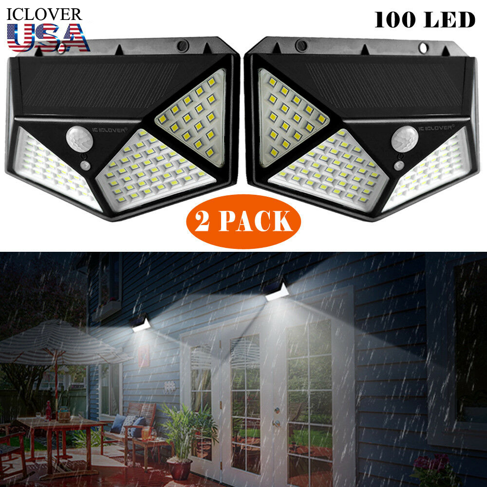 outdoor solar powered wall light 2 pack iclover 100 led solar lights outdoor motion sensor with 270 wide angle 3 modes wireless waterproof wall