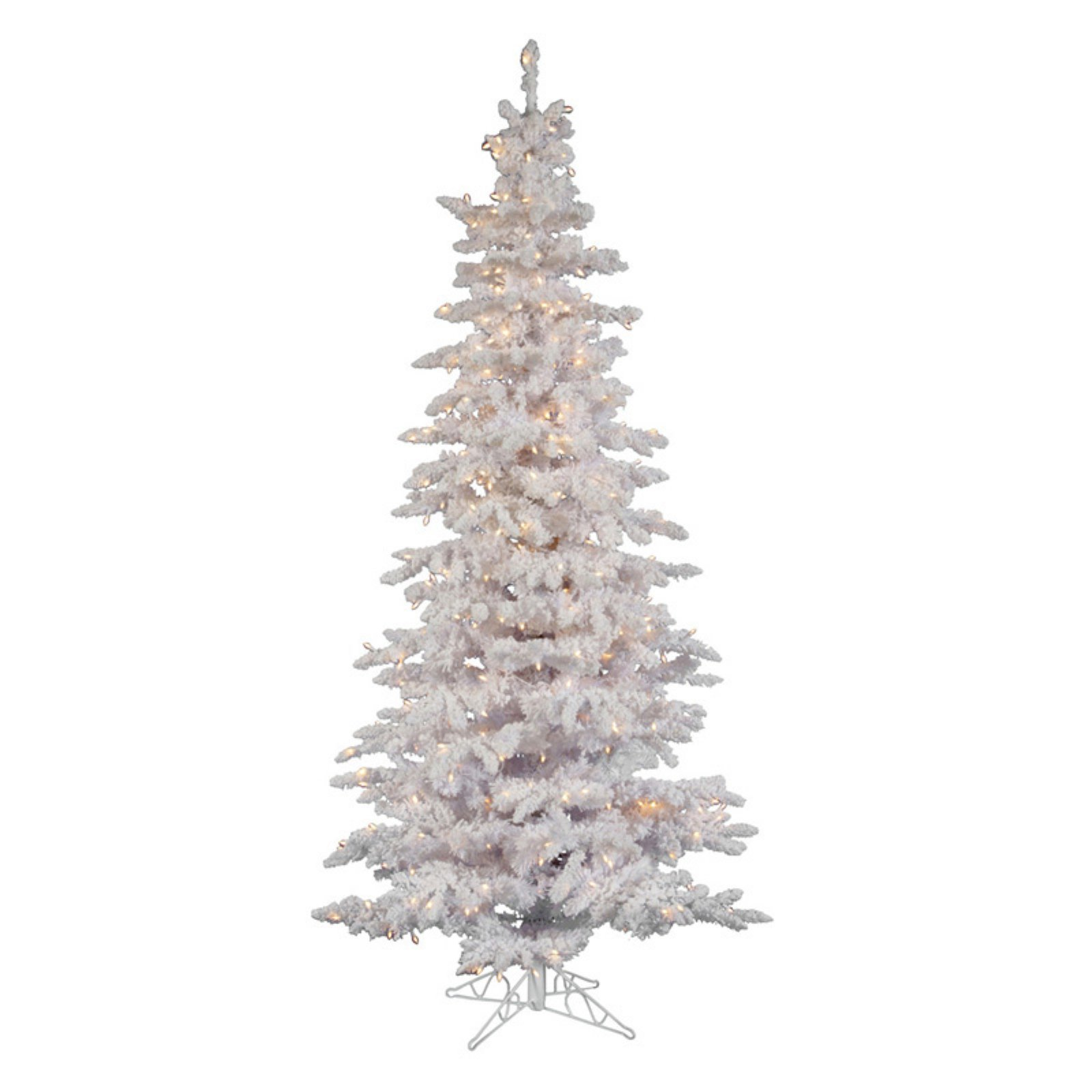 Flocked White Slim Pre Lit Christmas Tree