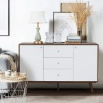 Erommy Sideboard Buffet Cabinet Tv Stand Mid Century Modern Console Table With 2 Cabinets And 3 Drawers Adjustable Shelves Entryway Cupboard For Kitchen Dining Room Walnut Brown Walmart Com Walmart Com