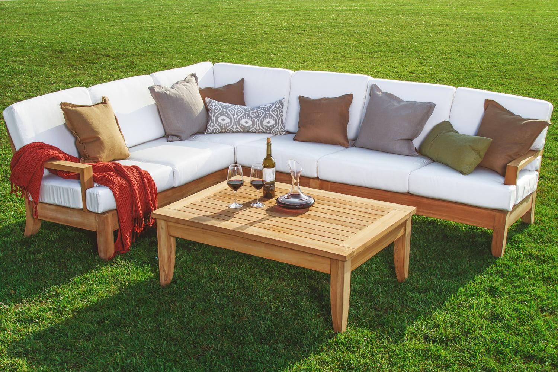 WholesaleTeak Outdoor Patio Grade-A Teak Wood Atnas 5 ... on 5 Piece Sectional Patio Set id=37692