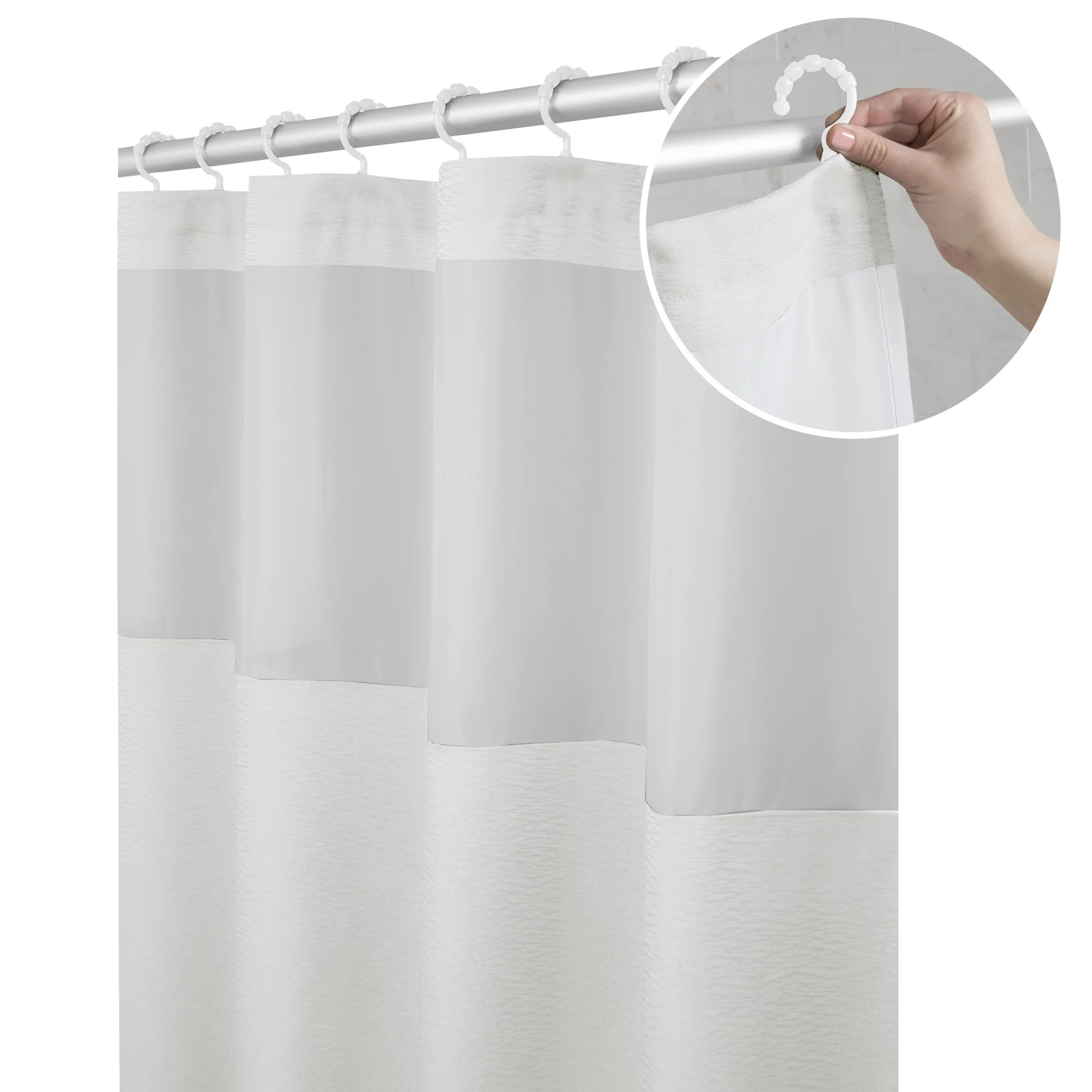 https www walmart com ip maytex smart curtain hendrix view fabric shower curtain with attached roller glide hooks 296993502