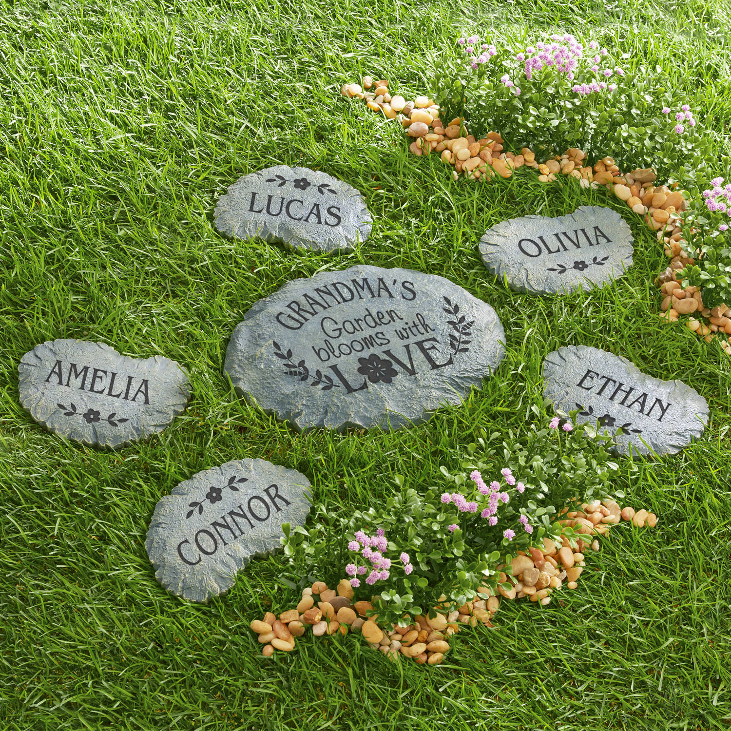 Personalized Blooms with Love Name Garden Stone, Top Flower