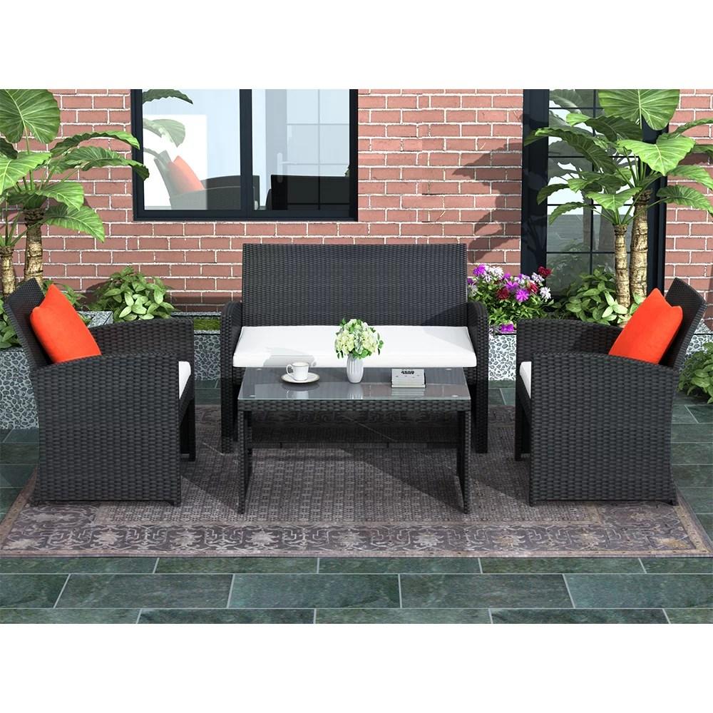 4 piece patio furniture sets clearance in patio garden outdoor wicker sofa rattan chair garden conversation set for backyard with two single sofa
