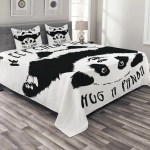 Black And White Bedspread Set Funny Animal Mascot Keep Calm And Hug A Panda Motivational Quote Art Decorative Quilted Coverlet Set With Pillow Shams Included Black White By Ambesonne Walmart Com