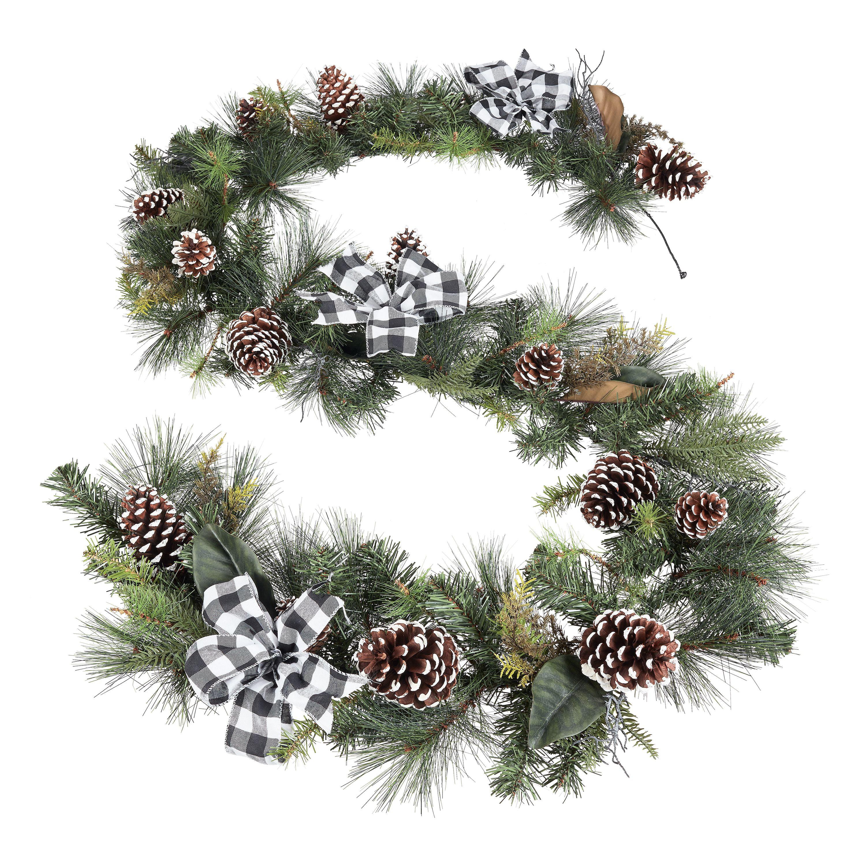 walmart black and white plaid holiday garland