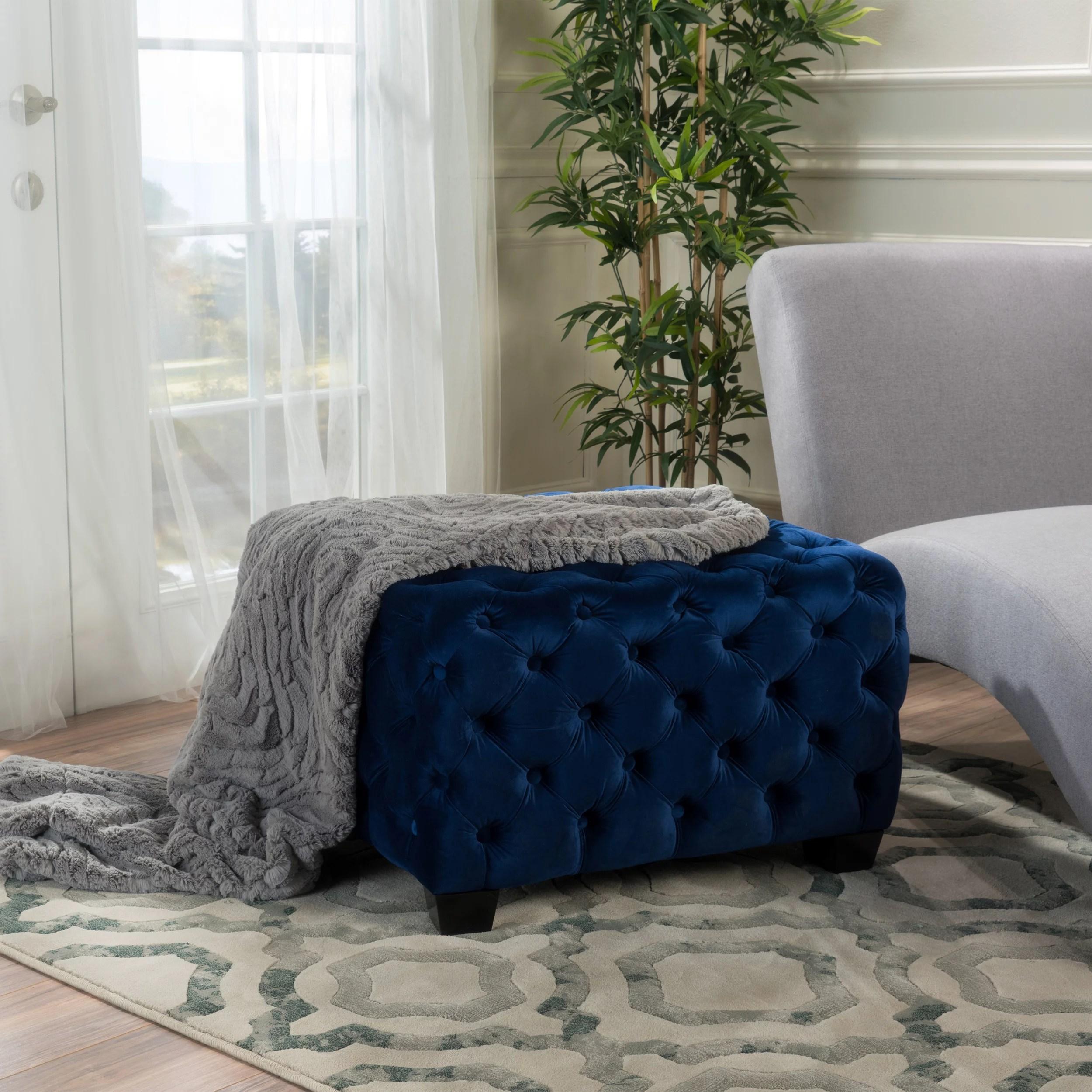 noble house conley velvet ottoman coffee table navy blue walmart com