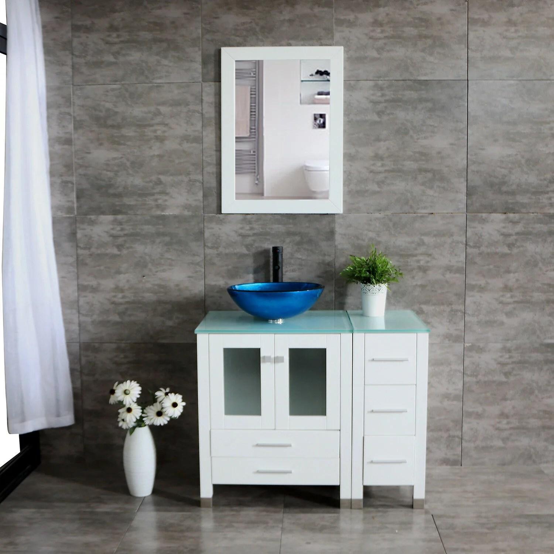 wonline 36 white bathroom vanity cabinet round vessel blue sink glass countertop mirror