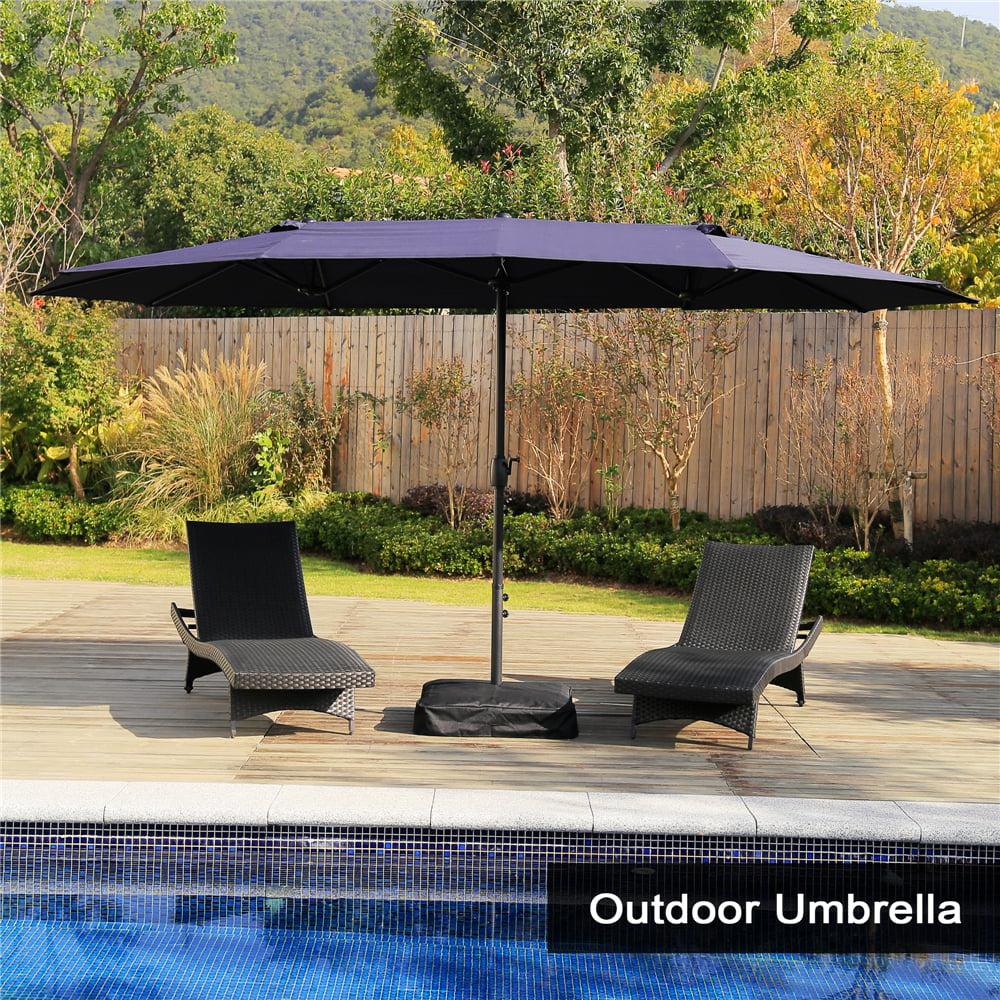 15 ft market outdoor umbrella double sided aluminum table patio umbrella with crank navy blue