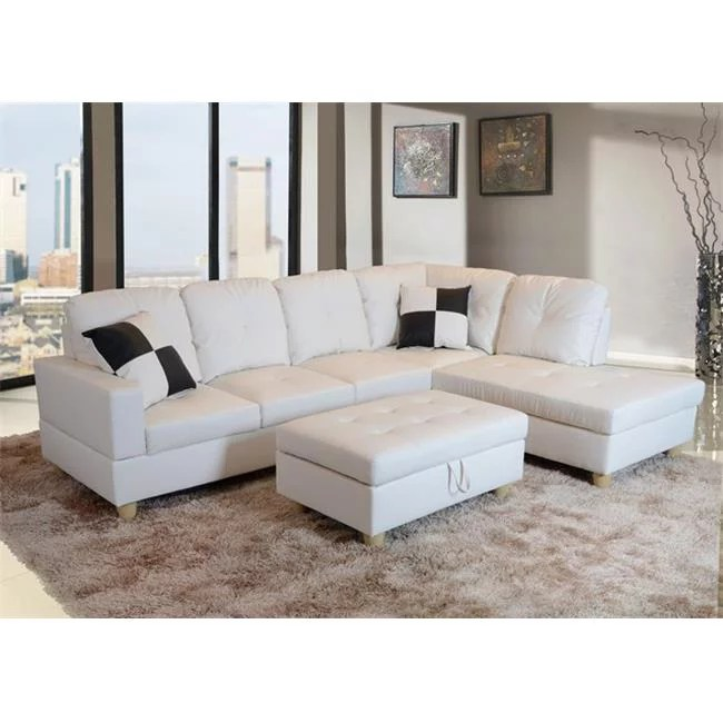 lifestyle furniture lf092b urbania right hand facing sectional sofa white 35 x 103 5 x 74 5 in