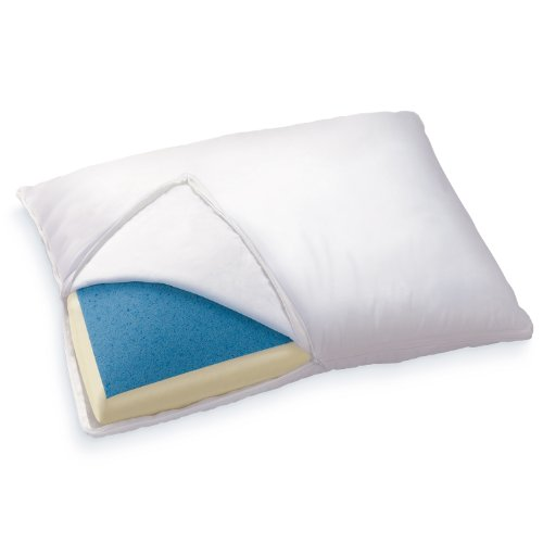 sleep innovations reversible cooling gel memory foam memory foam pillow with hypoallergenic cover made in the usa with a 5