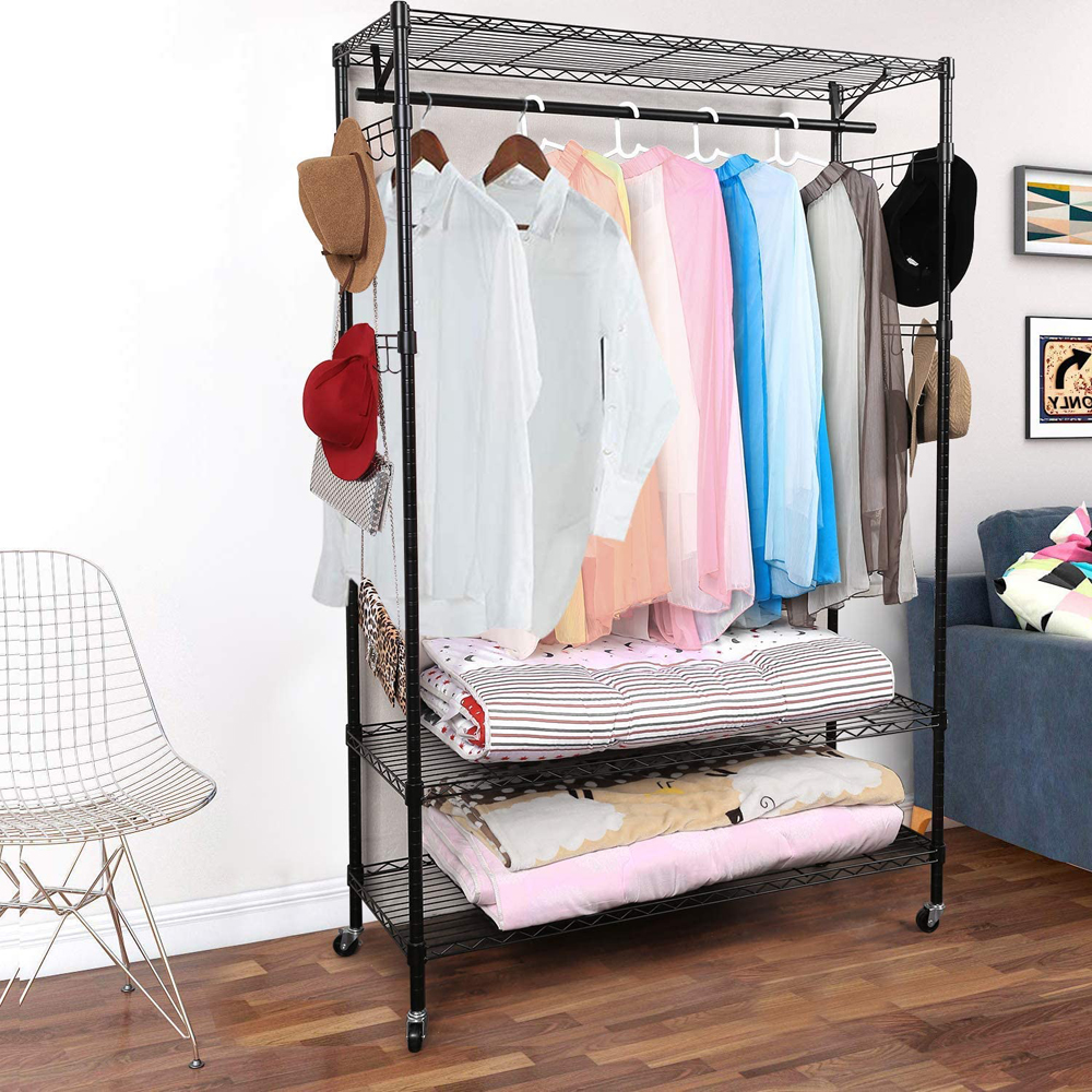 rolling clothing rack adjustable rolling garment rack heavy duty organizing clothes hanging rack with wheels 3 tier wire shelving clothing storage
