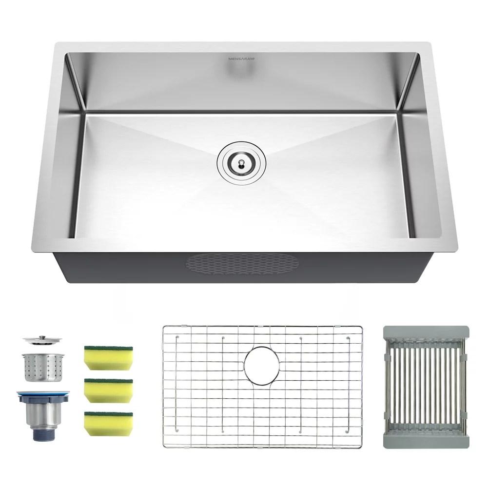 https www walmart com ip mensarjor 27 inch undermount single bowl kitchen sink 18 gauge handmade stainless steel sink 626083628