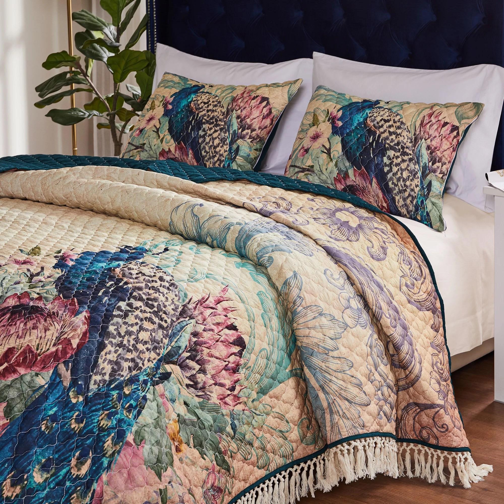 barefoot bungalow eden peacock oversized quilt and pillow sham set