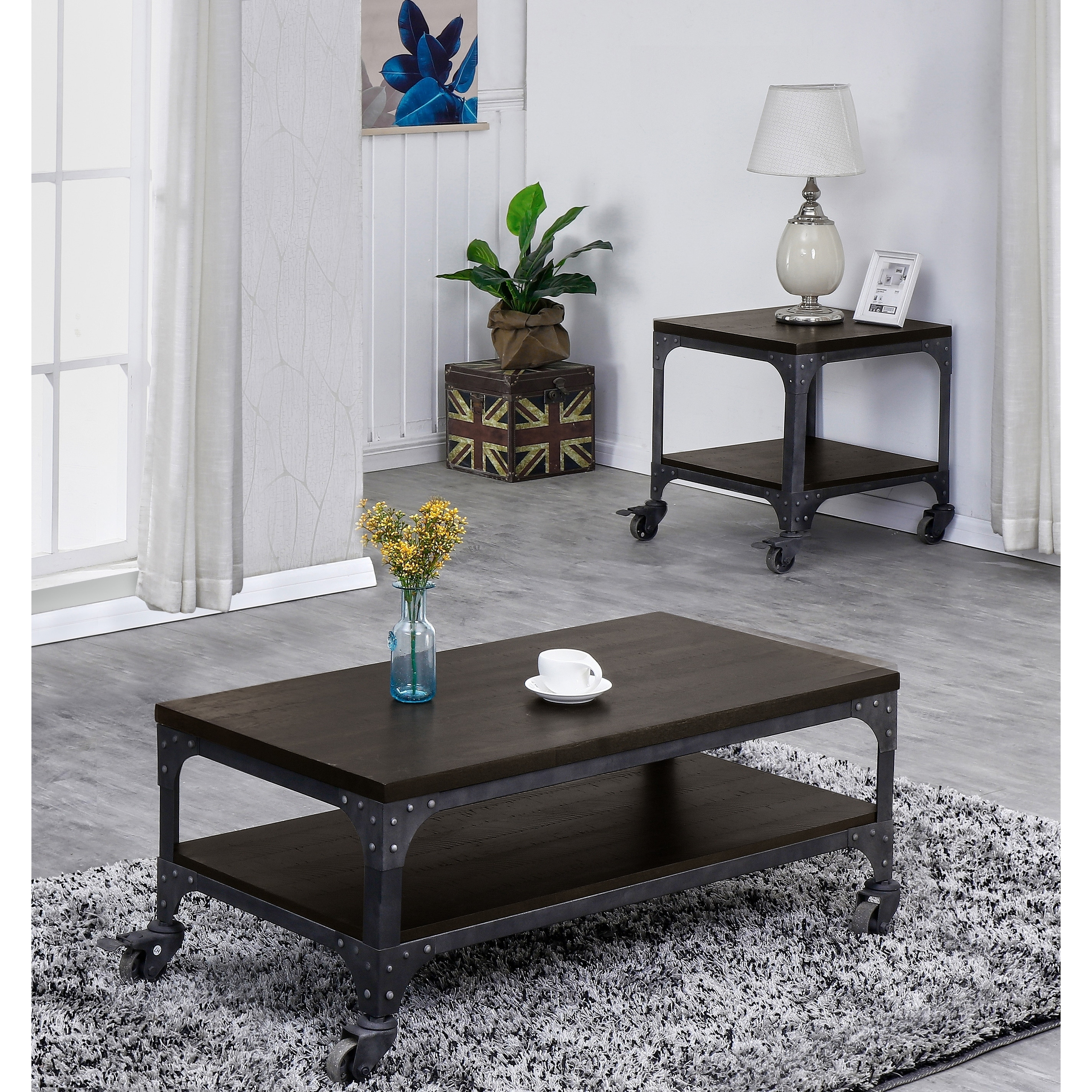 light rustic wood coffee table with wheels set coffee table end table