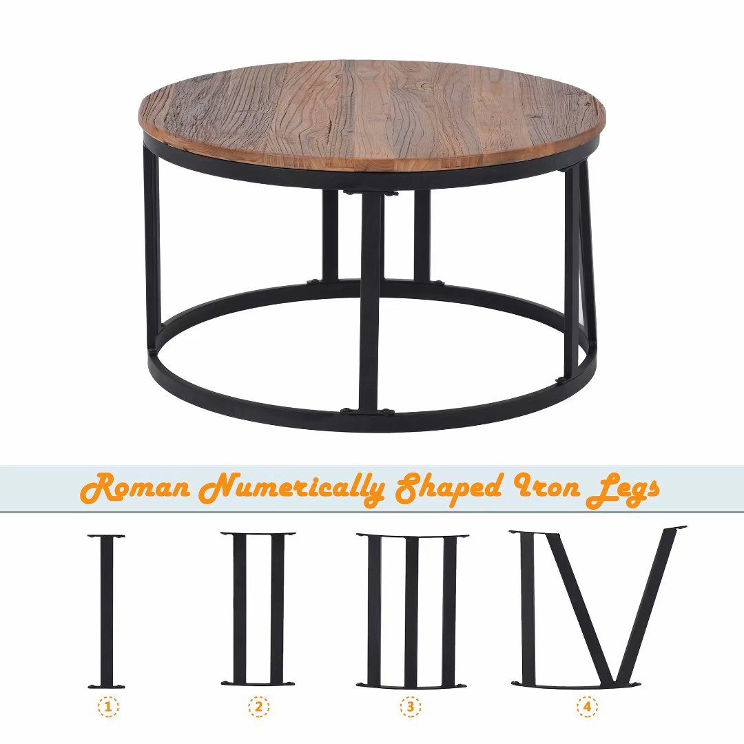 trexm rustic coffee table old elm wood desktop with roman numerically shaped iron legs o31 5