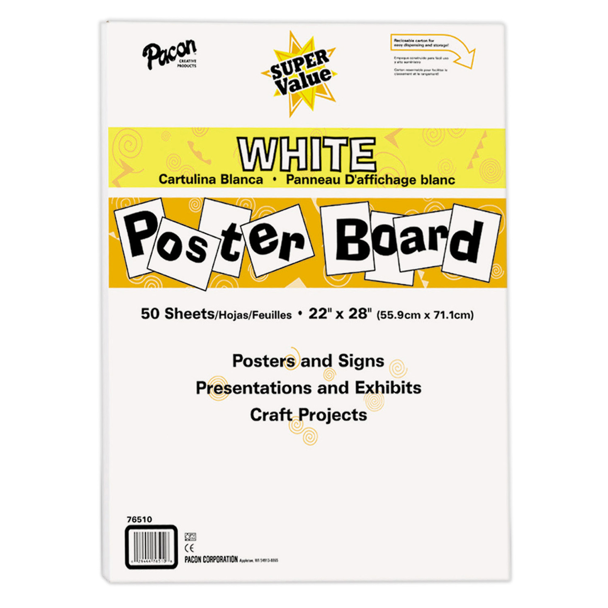 pacon super value poster board 22 x 28 white 50 sheets