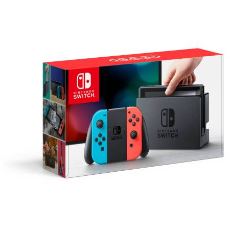 Nintendo Switch Gaming Console with Neon Blue and Neon Red Joy-Con