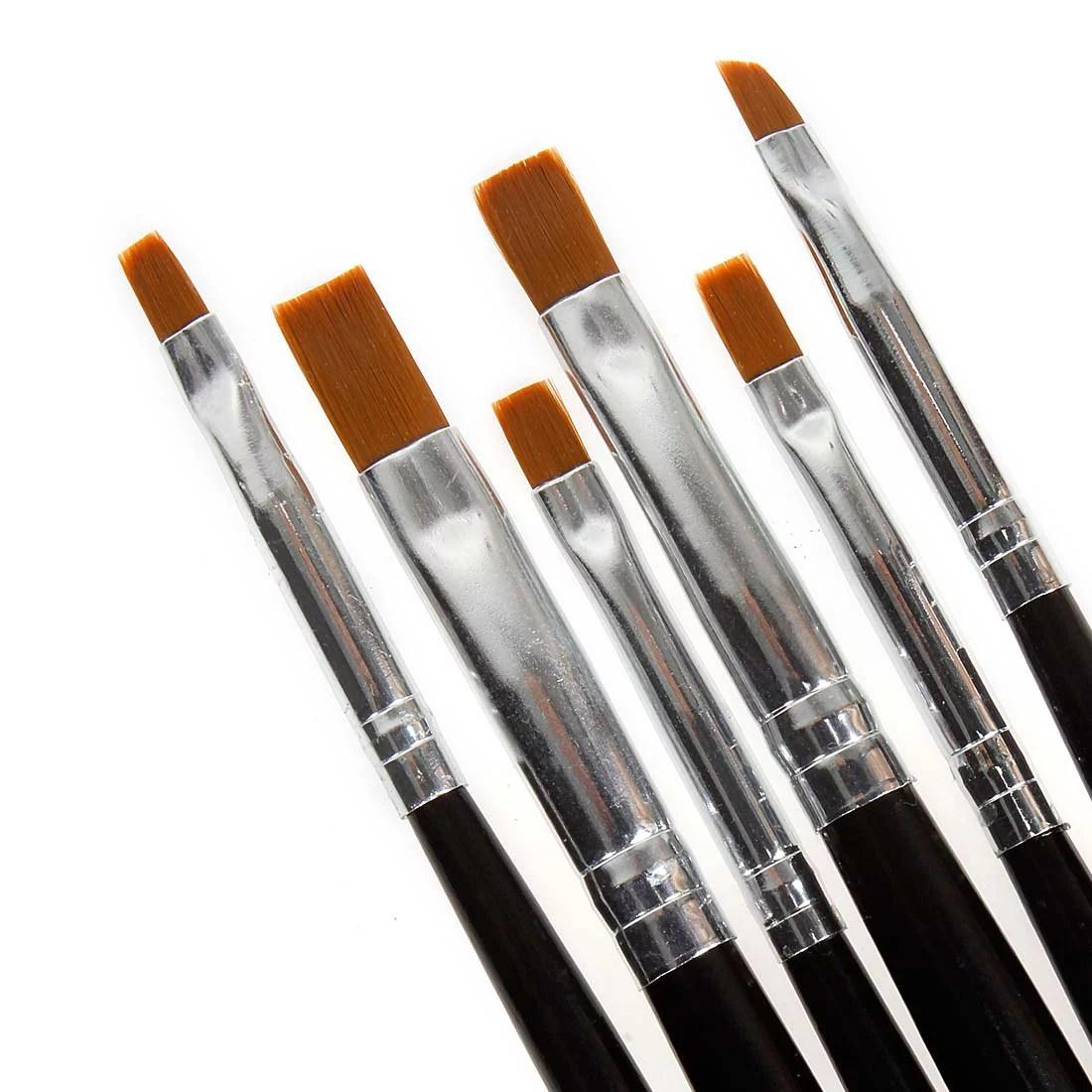Bmc 6pc Nail Art Uv Gel Acrylic Salon Pen Painting Detailing Flat Brush Kit