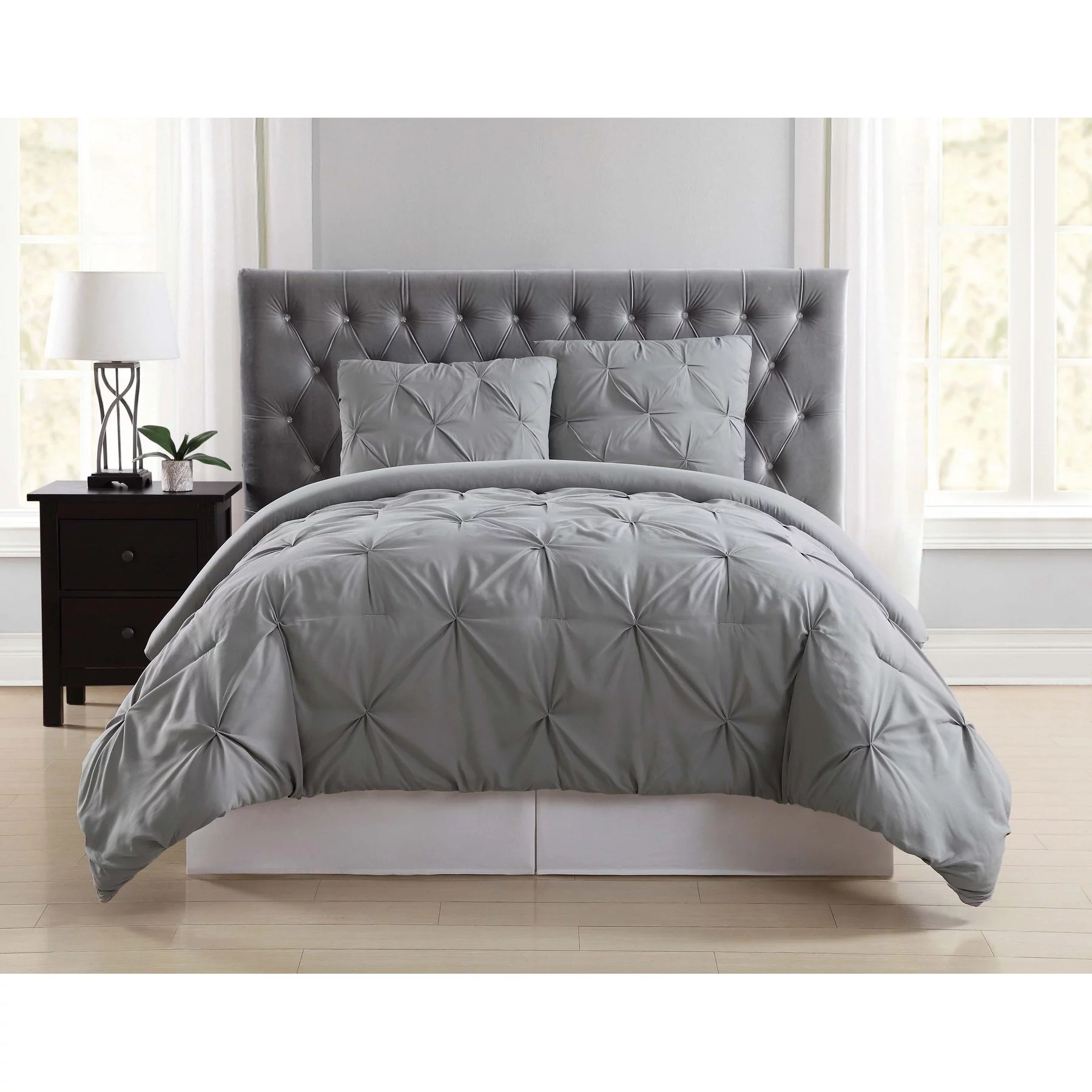 truly soft pleated grey king comforter set