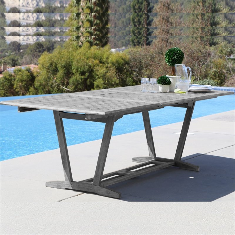 pemberly row extendable patio dining table in gray walmart com