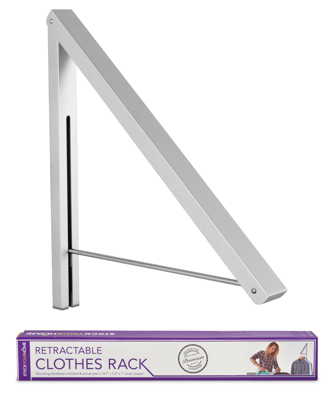 stock your home retractable clothes rack wall mounted folding clothes hanger drying rack for laundry room closet storage organization aluminum