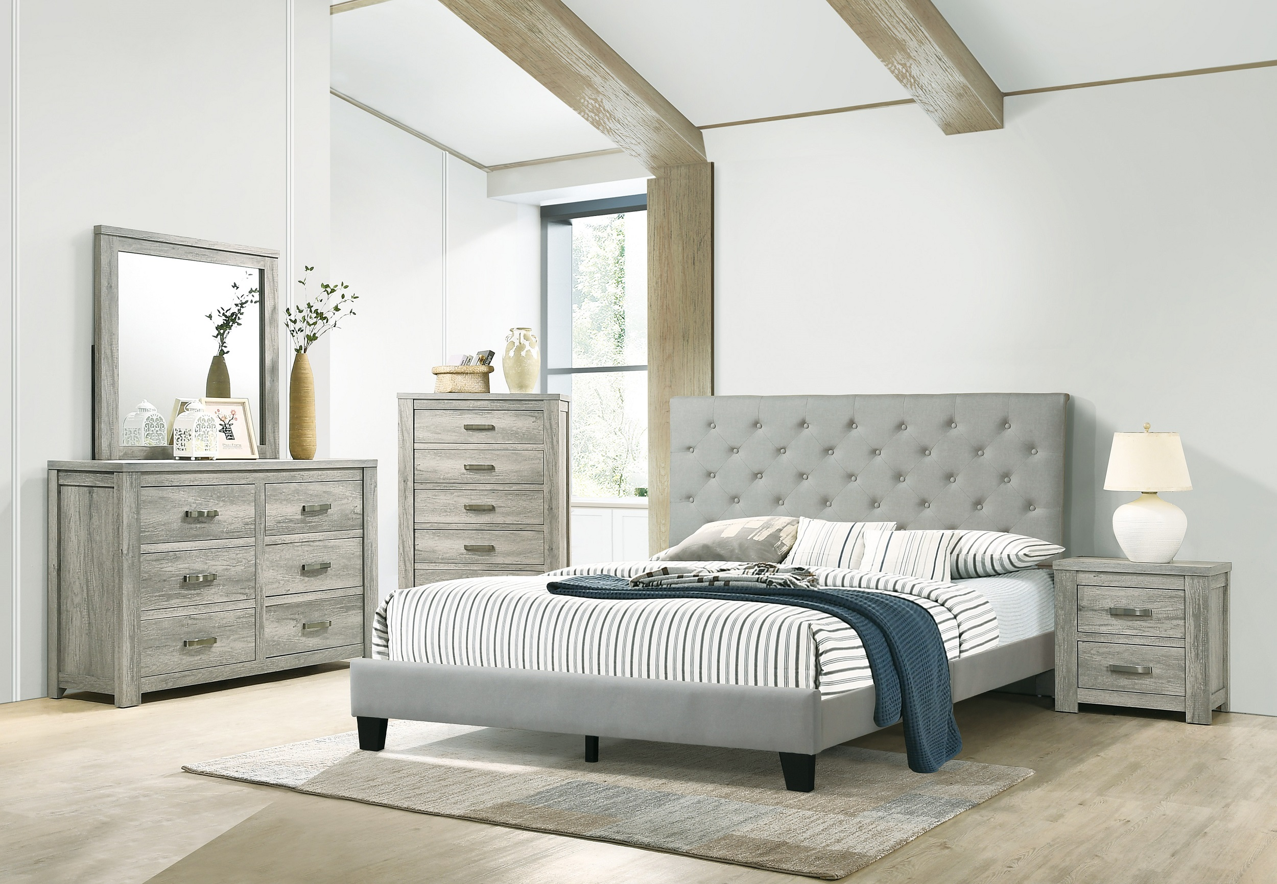 Eastern King Size Bed Dresser Mirror Nightstand 4pc Set Gray Color Bedroom Furniture Set Beautiful Bed Walmart Com Walmart Com
