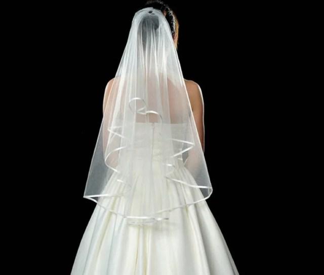 Simple White Wedding Bridal Voile Veils Elbow Satin Edge Veil