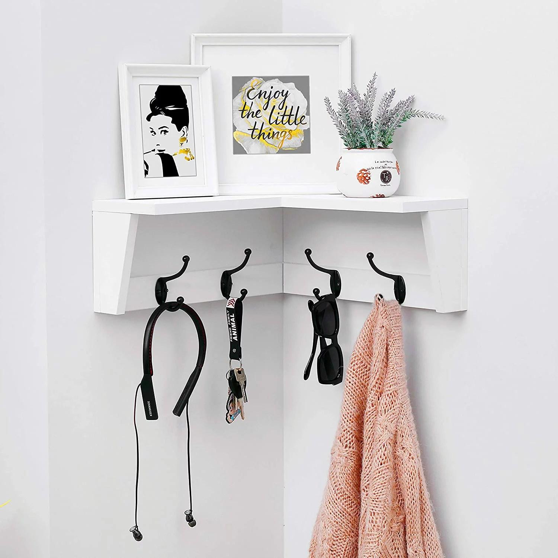 welland wall mounted corner shelf with hooks corner floating shelf coat rack shelf with 4 hooks walmart com