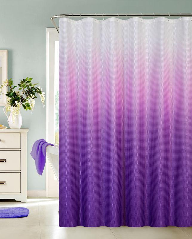 ombre waffle fabric shower curtain with 12 metal roller hooks purple
