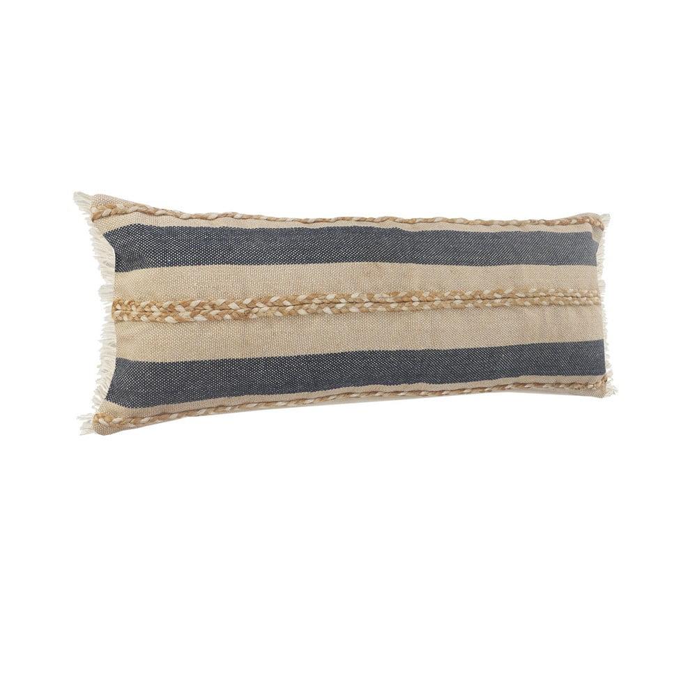 lr home atlantis coastal striped jute braiding fringed lumbar pillow blue tan taupe 14 x 36 walmart com