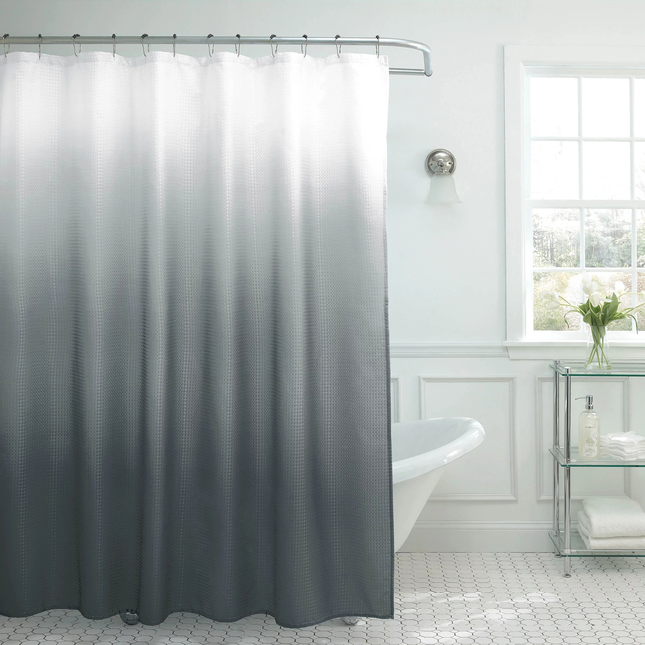 creative home ideas ombre textured shower curtain with beaded rings dark grey