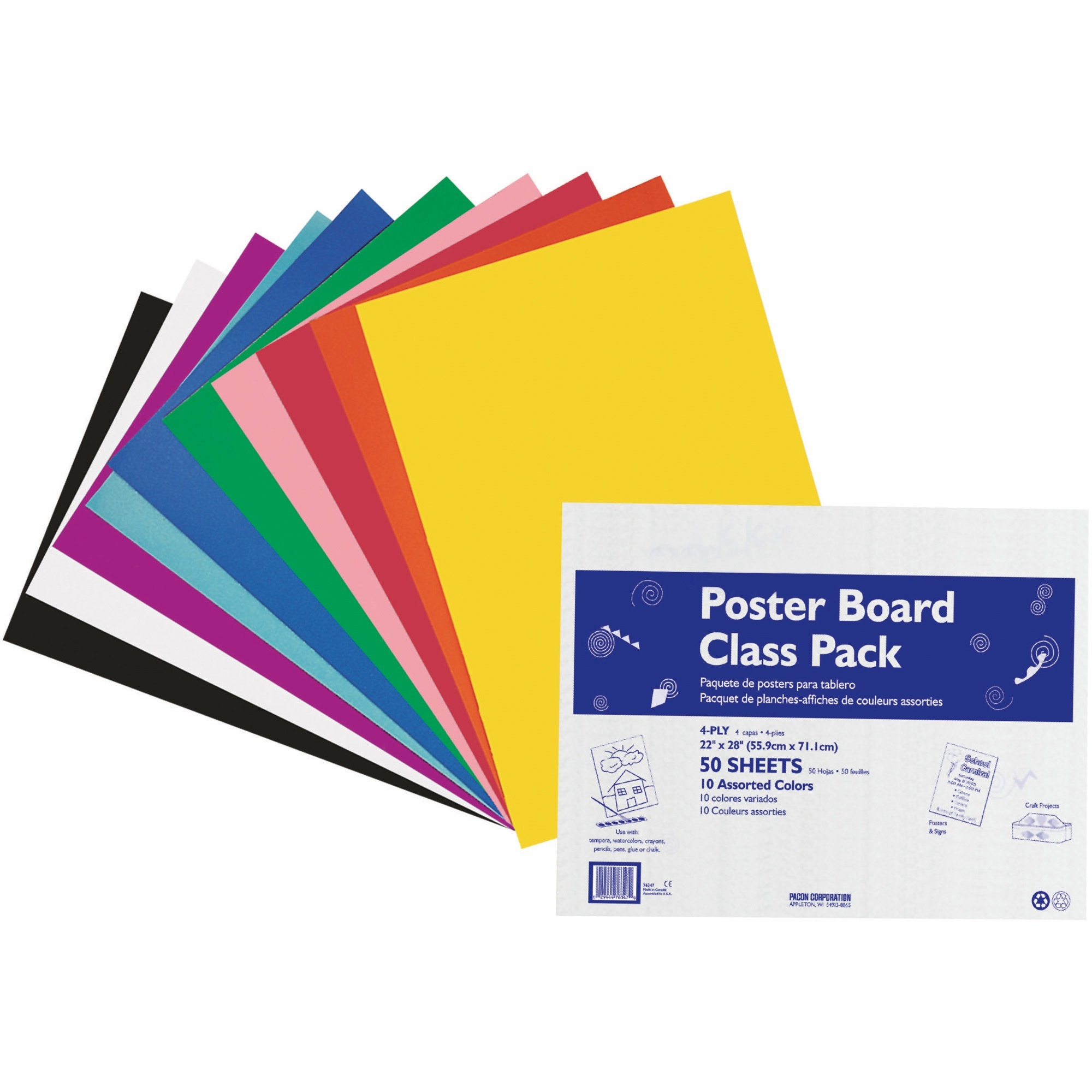 pacon poster board class pack 22 x 28 assorted colors 50 sheets