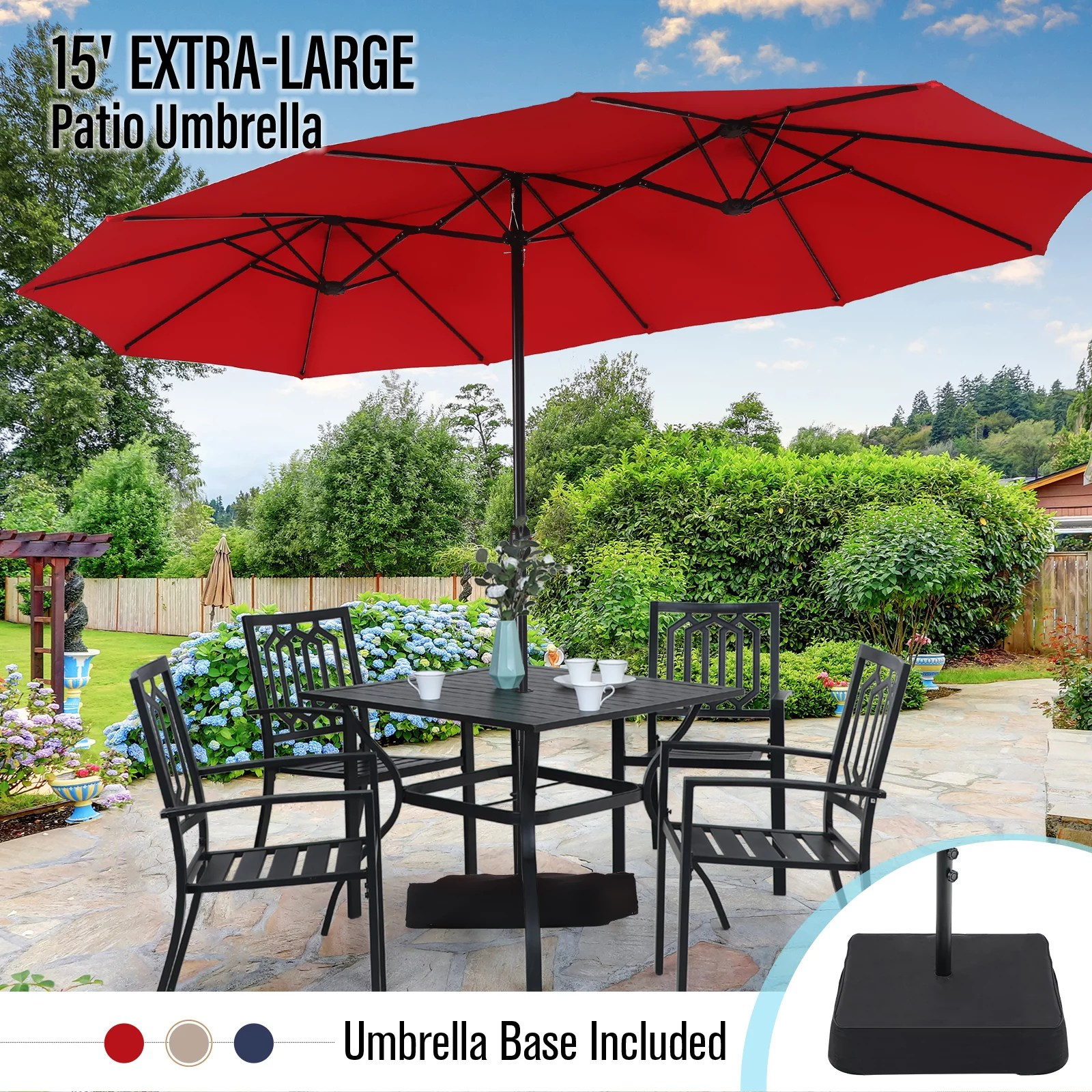 mf studio 15ft double sided patio umbrella with base large outdoor table umbrella red