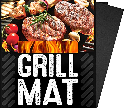 G & F BBQ Grill Sheets Mat ,100% Non Stick Safe ,Extra Thick,Reusable and Dishwasher safe, 3 piece of (13″x15.75″)
