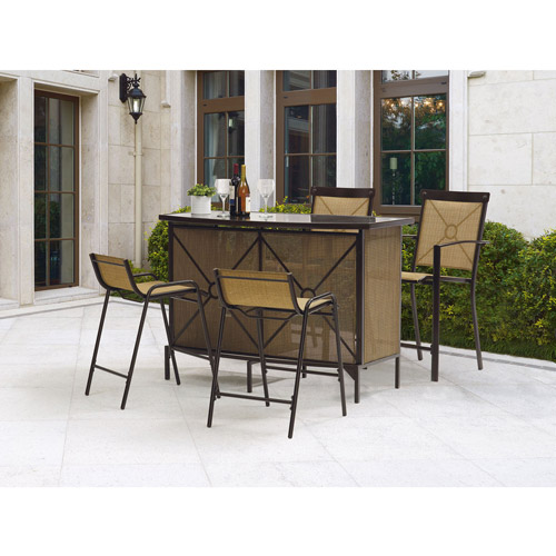 outdoor bar height patio dining sets Mainstays Palmerton Landing Bar Height Patio Dining Set