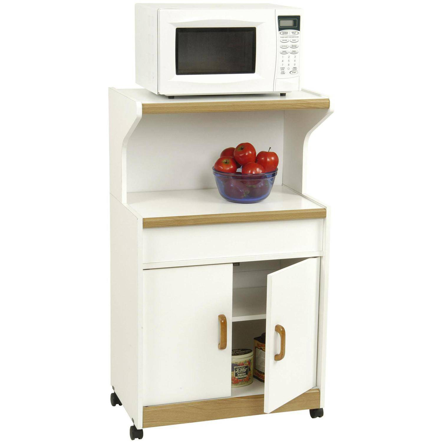 ameriwood home reggie deluxe microwave cart white