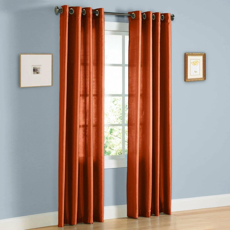 1pc nancy brick rust semi sheer panel grommet top sheer curtain window drape decor homme size 55 wide x 84 length walmart com