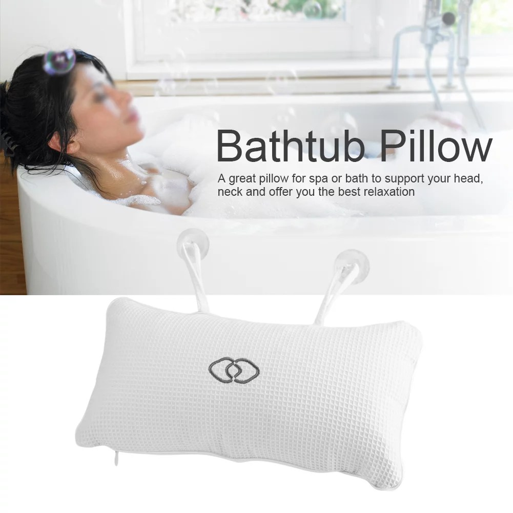faginey anti mold bathtub spa pillow non slip 2 strong suction cups bath pillows for tub head neck shoulder support breathable relax comfort