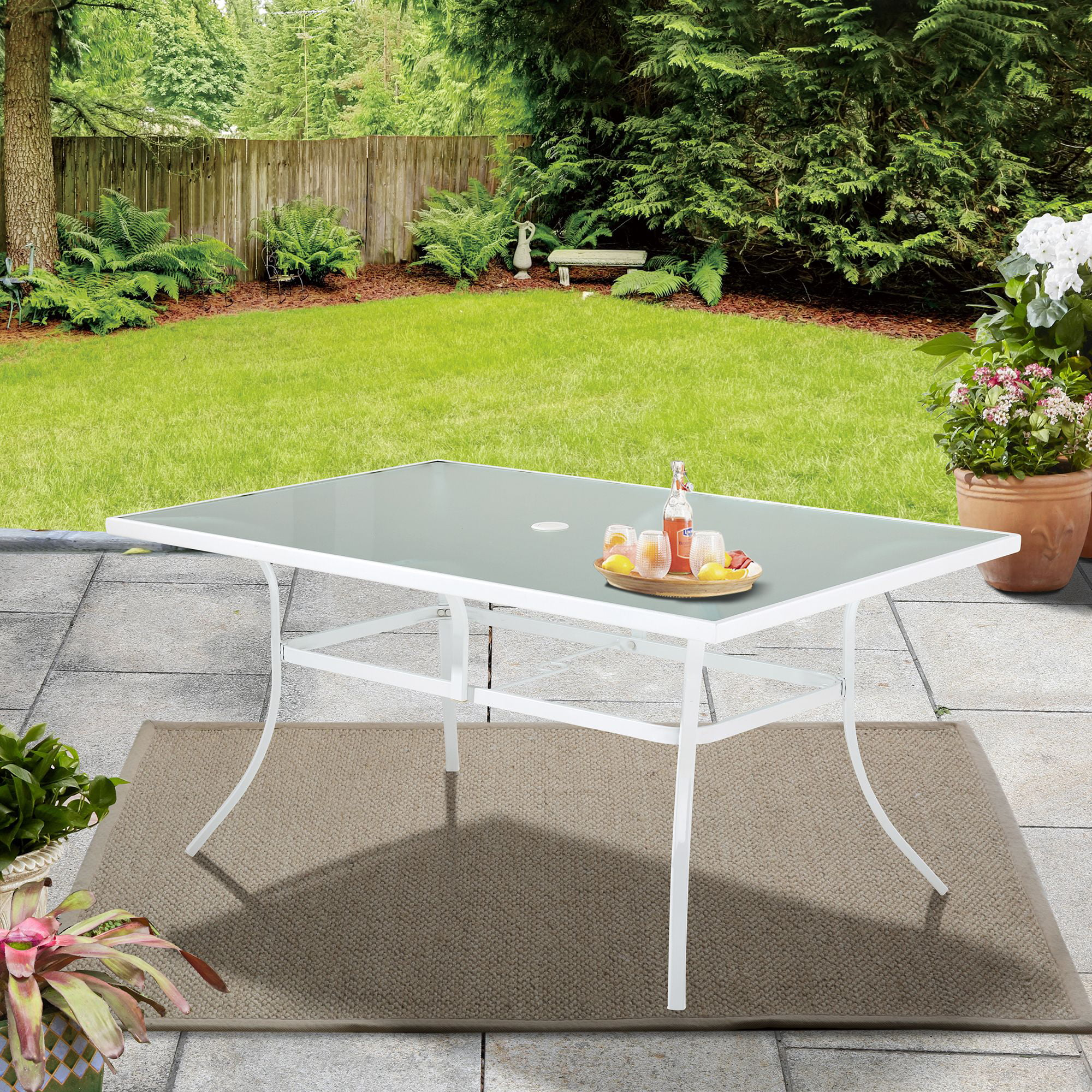 mainstays 60 rectangle glass top outdoor patio dining table white walmart com