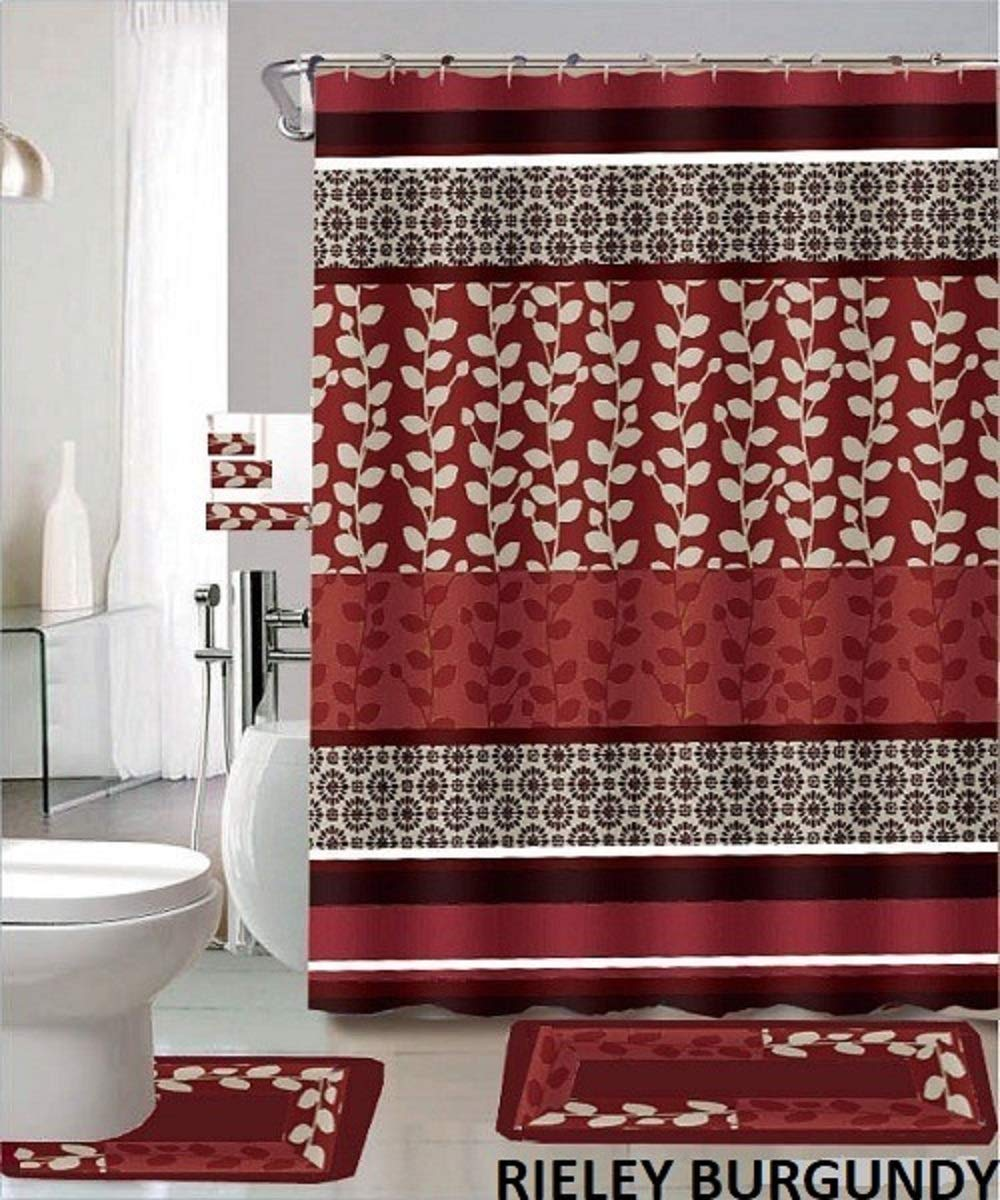 riely 18 piece bathroom set 2 rugs mats 1 fabric shower curtain 12 fabric covered rings 3 pc decorative towel set burgundy