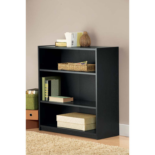 mainstays 3 shelf black bookcase walmart com
