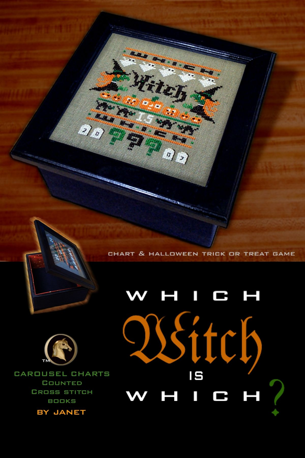Which Witch Is Which Cross Stitch Candy Box Lid With