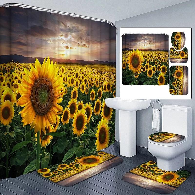 180x180cm sunflower bathroom set waterproof shower curtain or 3pcs non slip carpet toilet seat cover rugs bath mat