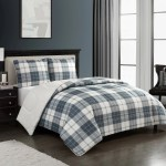 Mainstays Cozy Flannel Reverse To Super Soft Sherpa 3 Piece Comforter Set Full Queen Grey Plaid Walmart Com Walmart Com