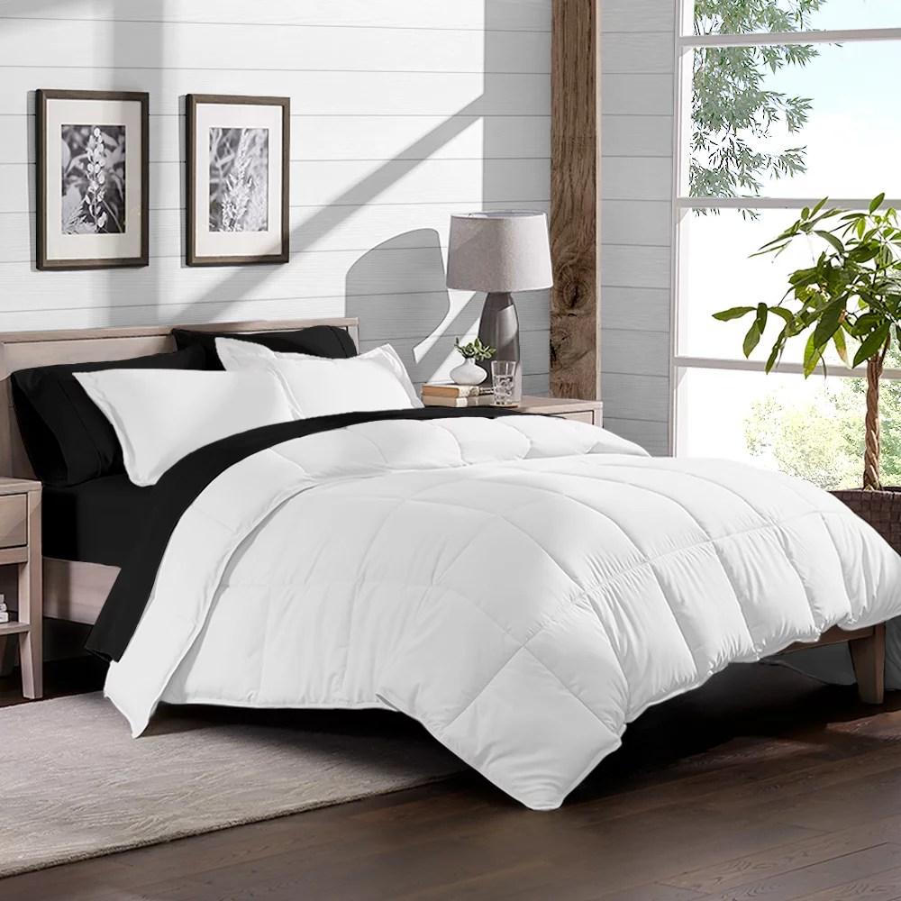 7 piece bed in a bag cal king comforter set white sheet set black