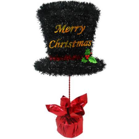 Holiday Time Christmas Decor 17 Tinsel Table Top Black Hat