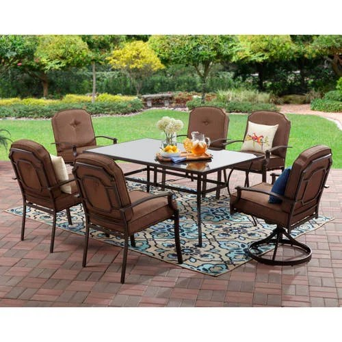 mainstays wentworth outdoor patio dining set cushioned metal 7 piece
