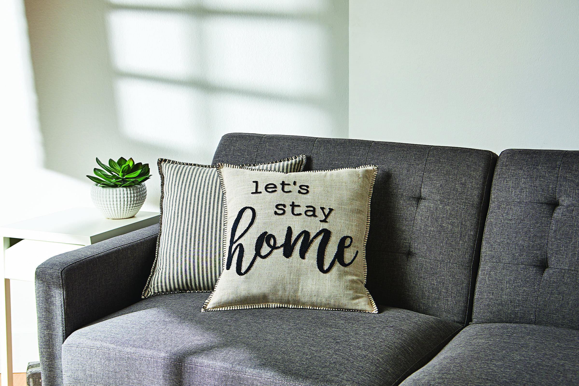 better homes gardens decorative throw pillow let s stay home sentiment square tan 18 x 18 1pack walmart com walmart com